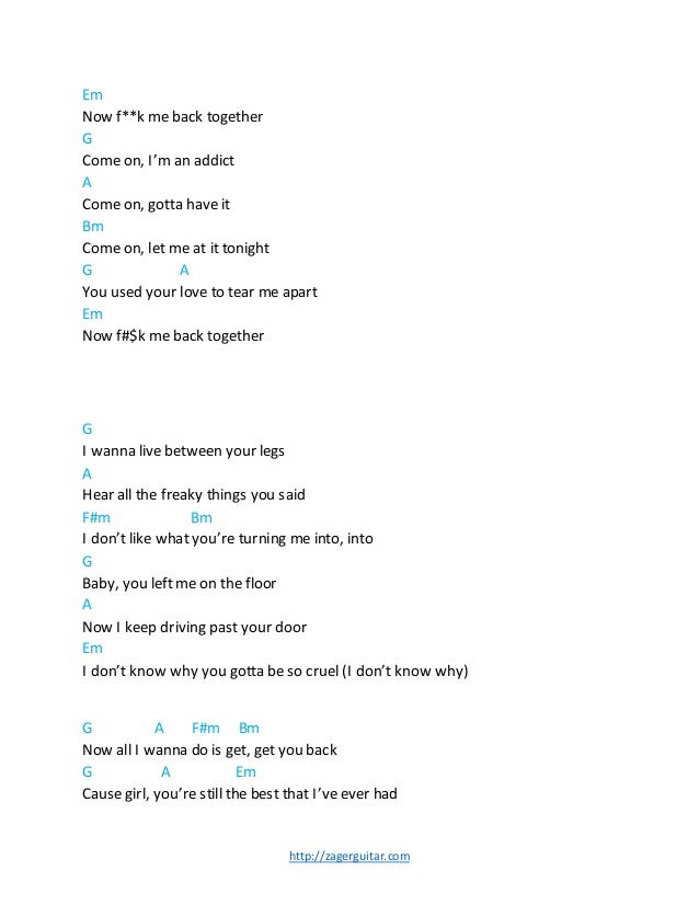 Back Together Guitar Chords- Robin Thicke Ft Nicki Minaj by Zager Rev…