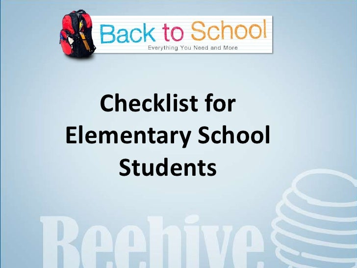Checklist for Elementary School Students<br />