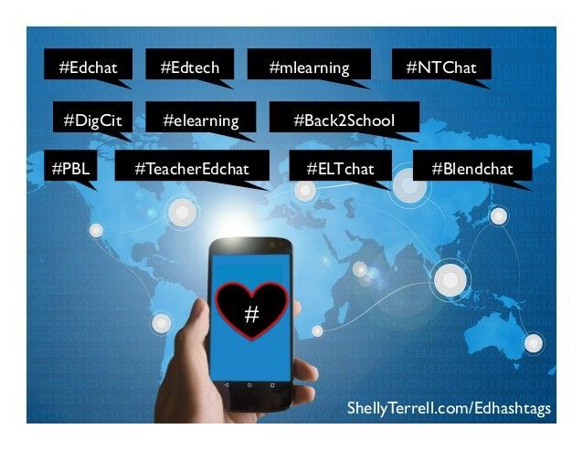 ShellyTerrell.com/Edhashtags #DigCit #Edtech#Edchat # #Back2School #NTChat#mlearning #elearning #PBL #Blendchat#TeacherEdc...