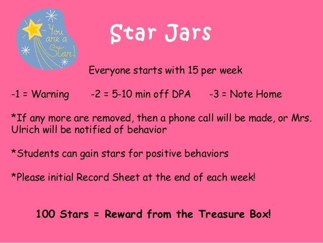 Star Jars Everyone starts with 15 per week -1 = Warning -2 = 5-10 min off DPA -3 = Note Home *If any more are removed, the...
