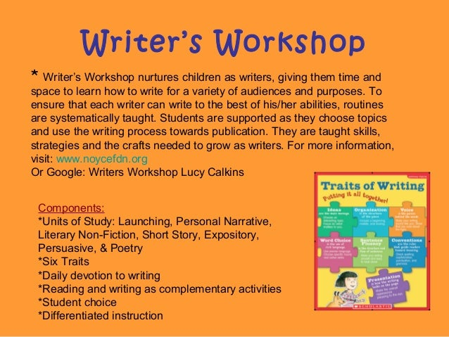 Writer's Workshop * Writer's Workshop nurtures children as writers, giving them time and space to learn how to write for a...