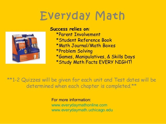 Everyday Math Success relies on: *Parent Involvement *Student Reference Book *Math Journal/Math Boxes *Problem Solving *Ga...