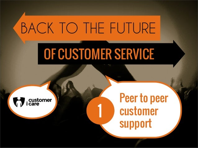 1 Peer to peer customer support BACK TO THE FUTURE OF CUSTOMER SERVICE