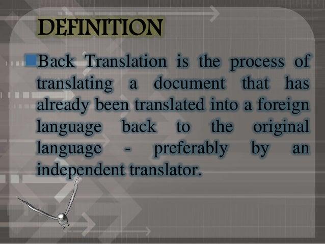 Back translation ( Mai)
