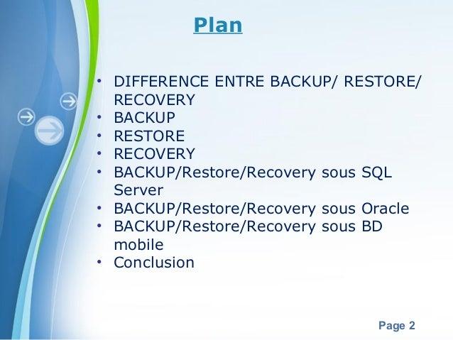 Backup Restore Recovery Slide 2