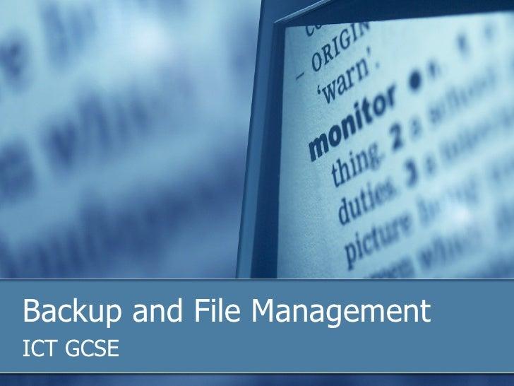 Backup and File Management ICT GCSE
