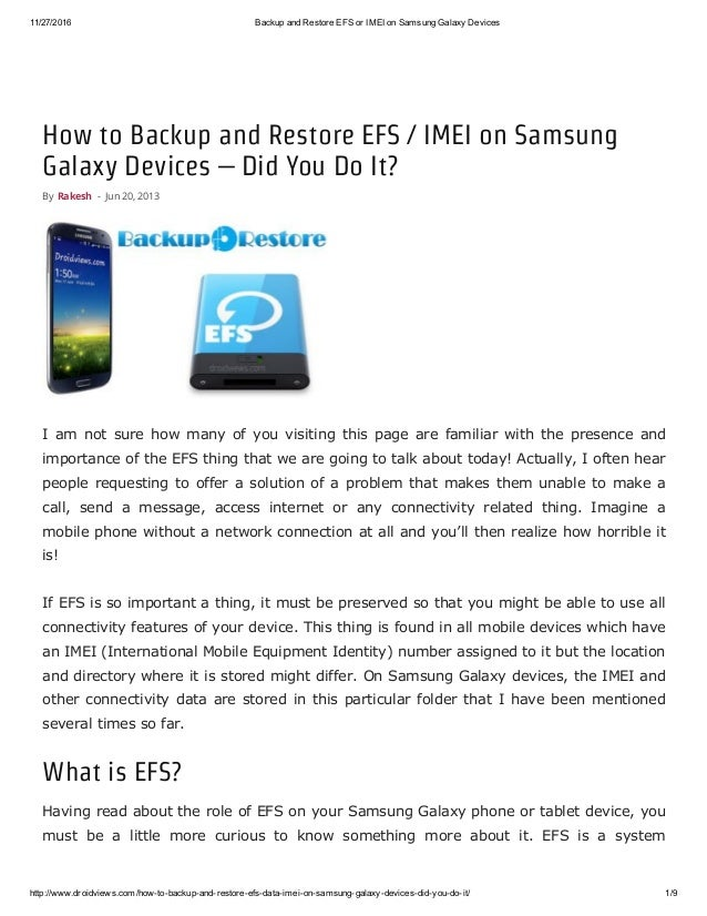 Backup and restore efs or imei on samsung galaxy devices