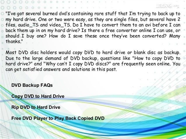 how to copy dvd to hard drive