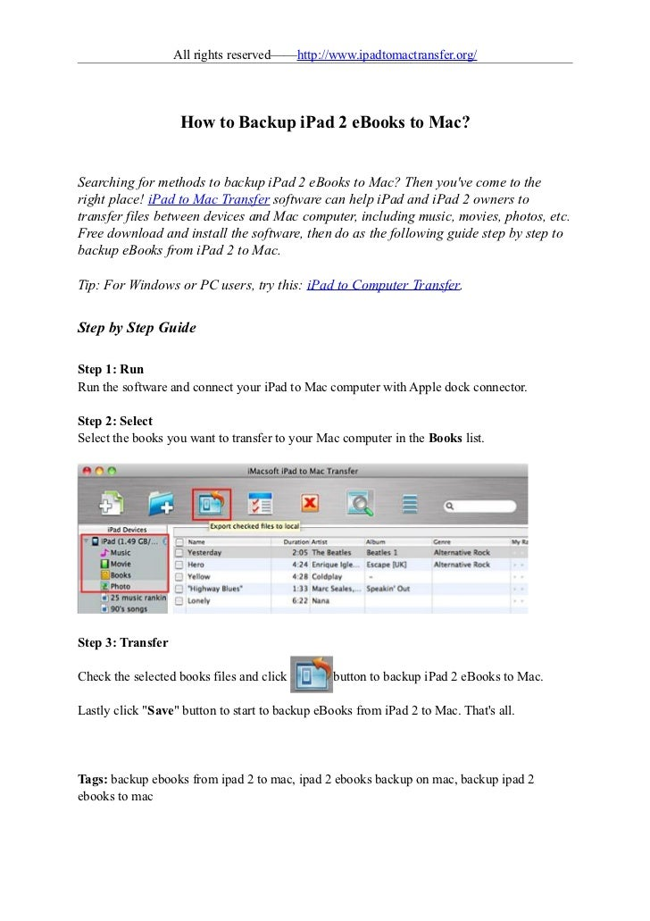 All rights reserved——http://www.ipadtomactransfer.org/                    How to Backup iPad 2 eBooks to Mac?Searching for...