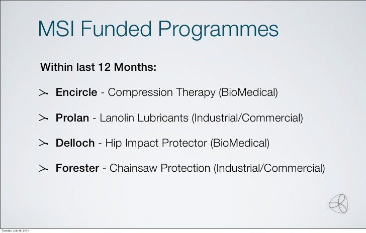 MSI Funded Programmes                         Within last 12 Months:                           Encircle - Compression Ther...