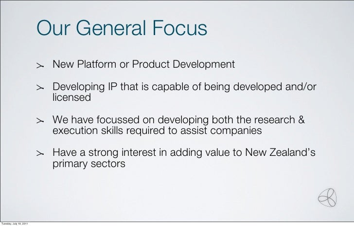 Our General Focus                          New Platform or Product Development                          Developing IP that...