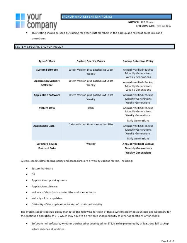database test plan template - backup policy template julie bozzi oregon