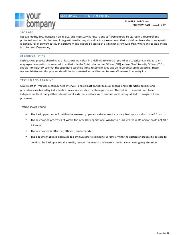 page 8 of 12 9 backup and retention policy