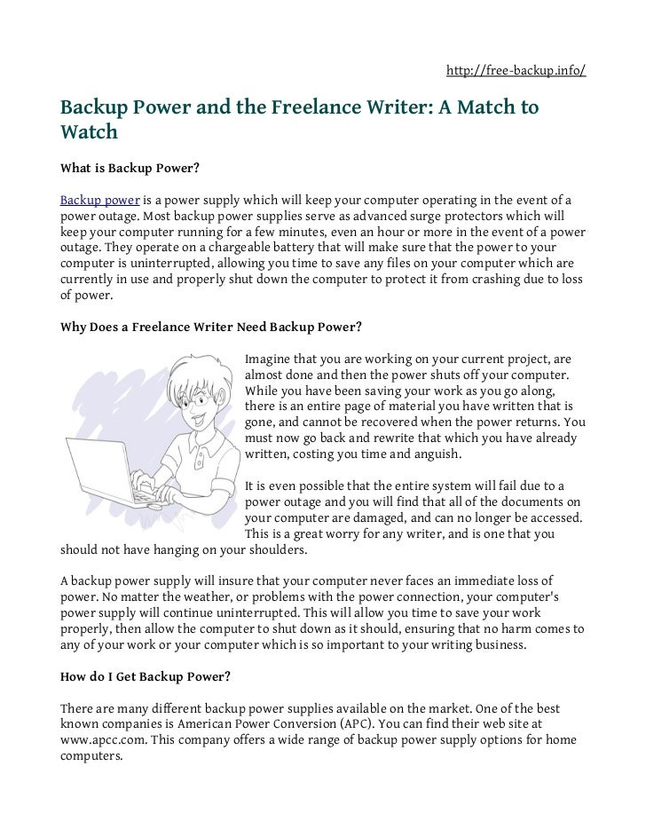 Backup power and the freelance writer a match to watch