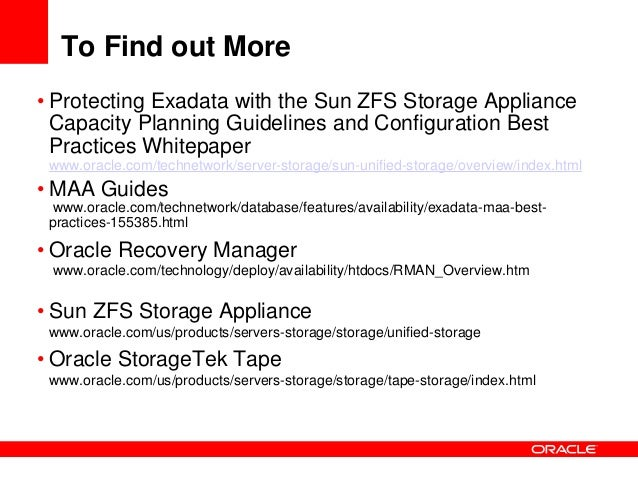 Backup Amp Recovery For Exadata