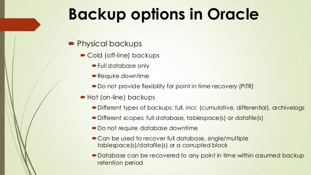 Oracle RMAN Backup Recovery Training Class