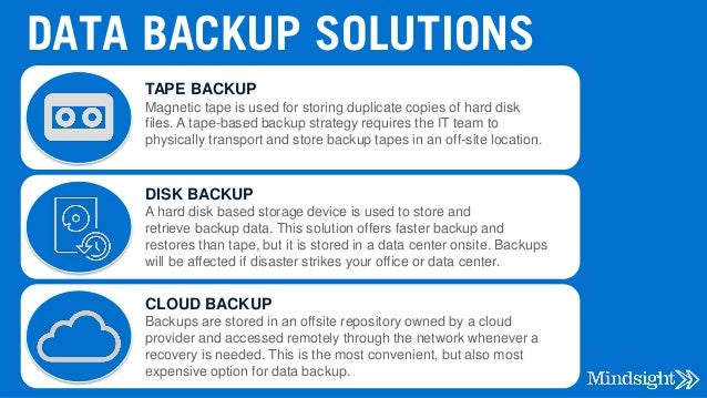 5 DATA BACKUP SOLUTIONS TAPE BACKUP Magnetic tape is used for storing duplicate copies of hard disk files. A tape-based ba...