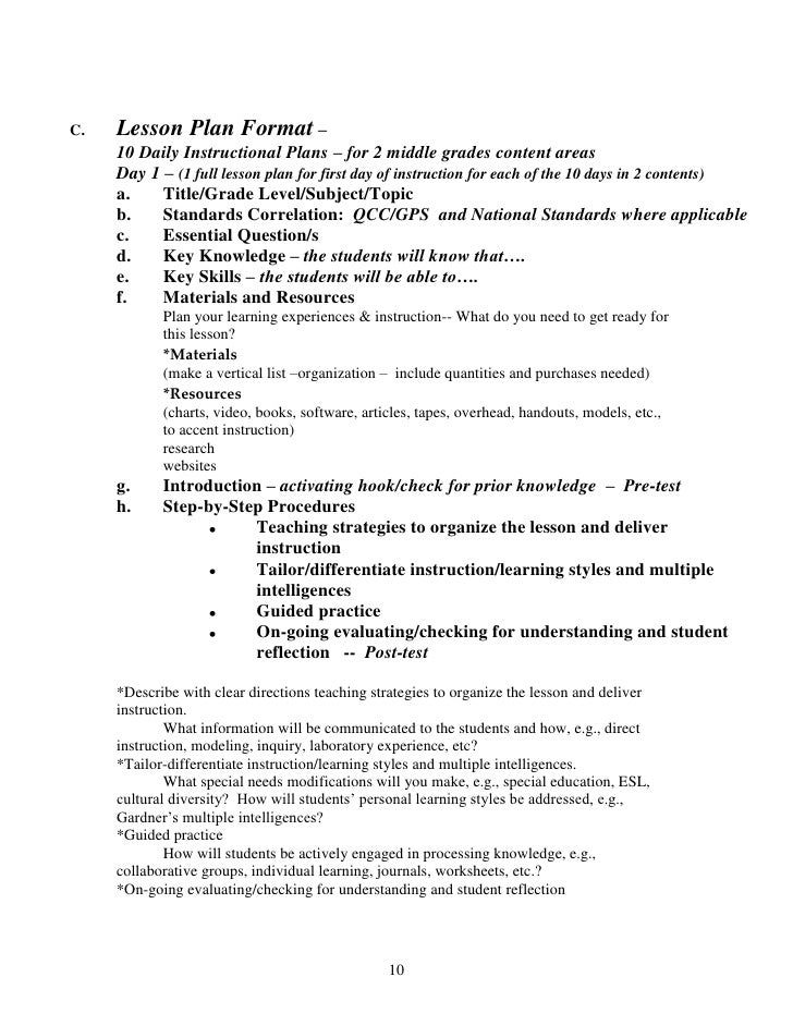Backwards By Design In The Exemplary Middle School - History lesson plan template