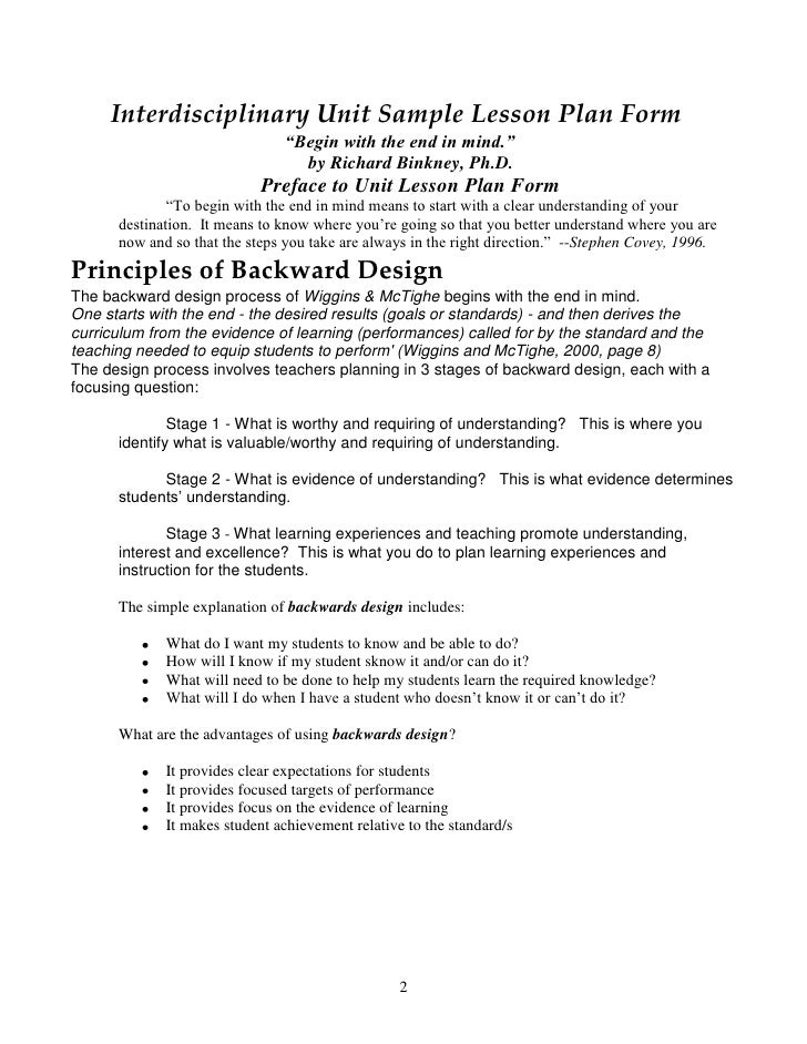 Backwards by design in the exemplary middle school - Backwards design lesson plan examples ...