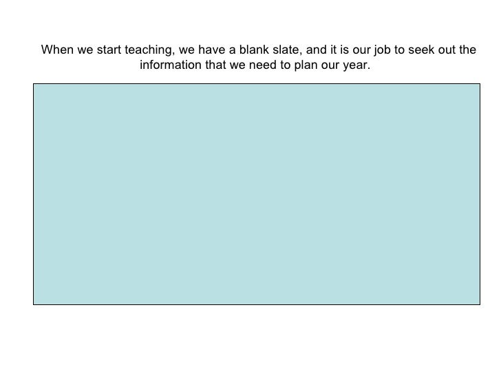 When we start teaching, we have a blank slate, and it is our job to seek out the information that we need to plan our year.