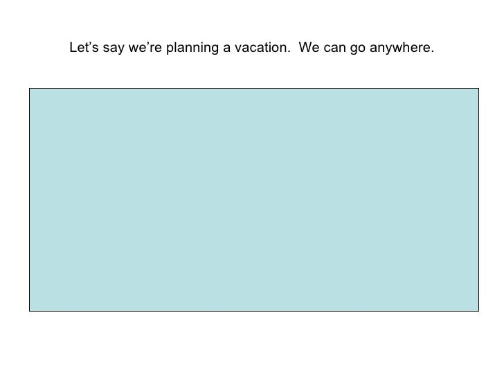 Let's say we're planning a vacation.  We can go anywhere.