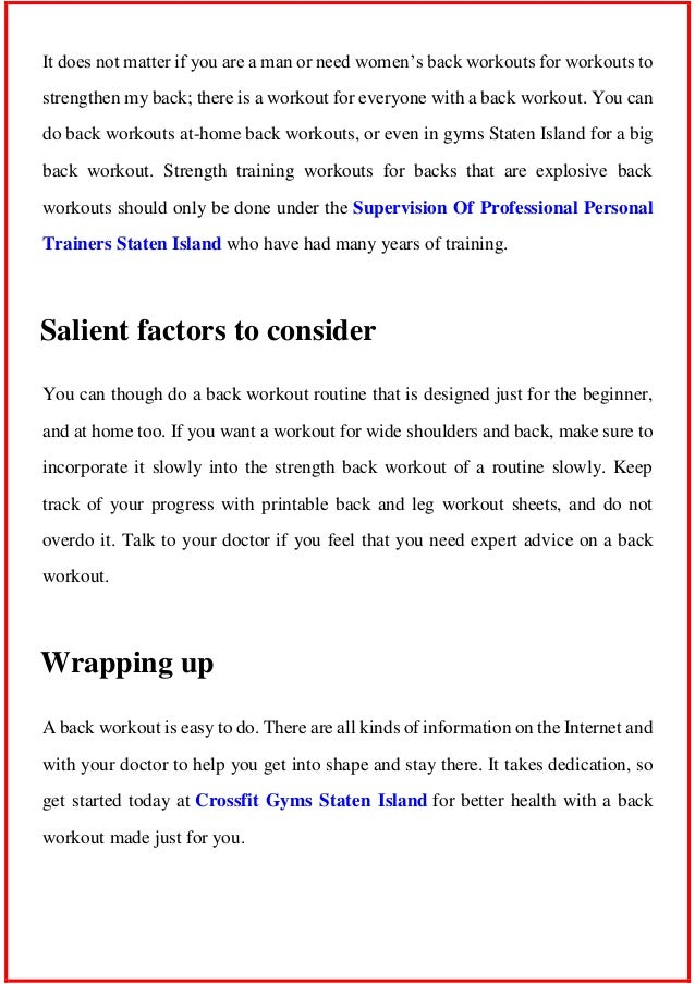 Back Workout Tips On Why An Exercise Routine Is Important For The L