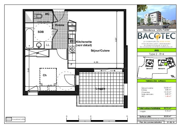 bacotec montpellier plan des appartements t2 r sidence. Black Bedroom Furniture Sets. Home Design Ideas