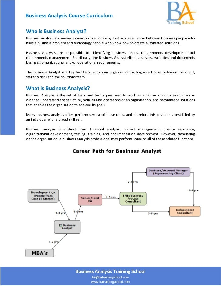 Business Analysis Course CurriculumWho is Business Analyst?Business Analyst is a new-economy job in a company that acts as...