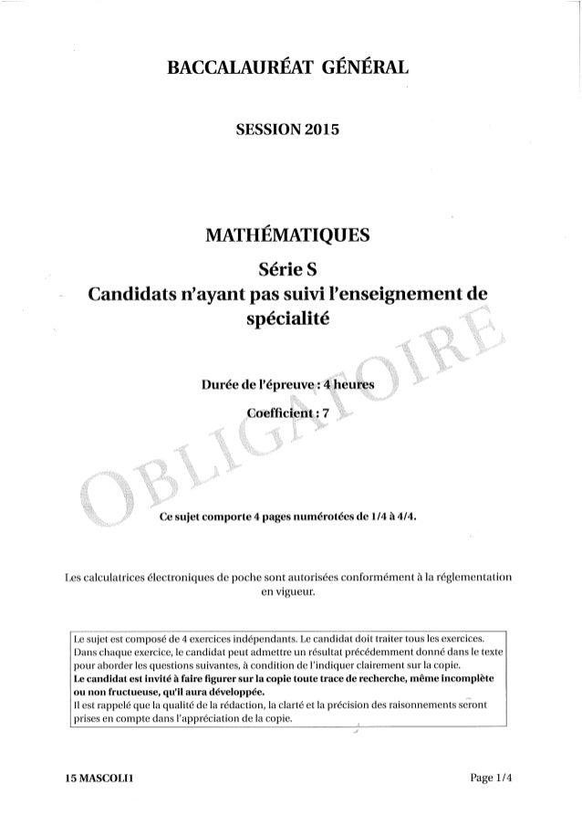 Sujet Bac Liban 2015 Mathématiques