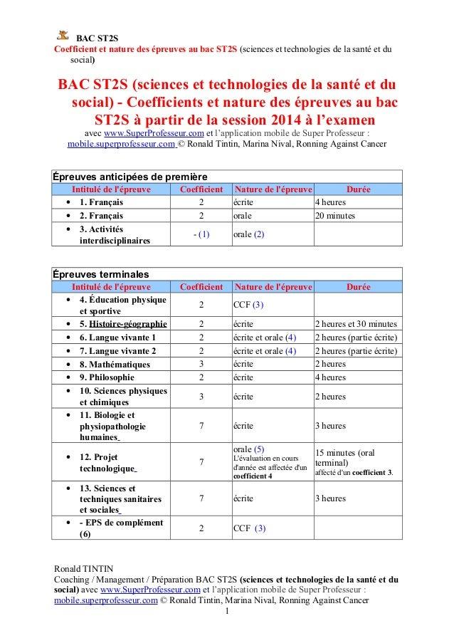 BAC ST2S Coefficient et nature des épreuves au bac ST2S (sciences et technologies de la santé et du social) BAC ST2S (scie...