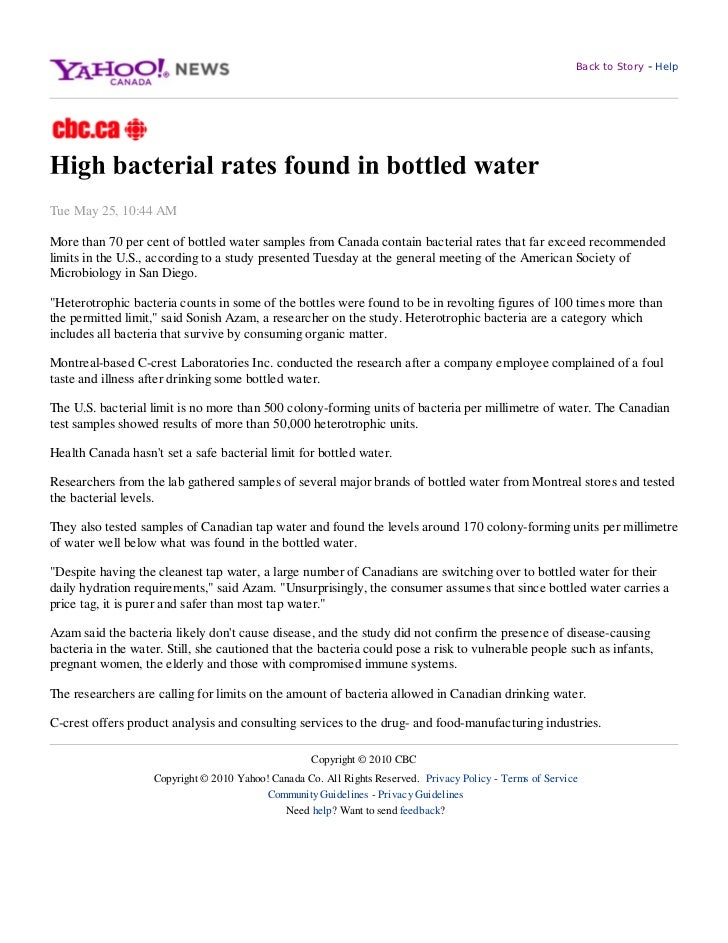 Back to Story   - HelpTue May 25, 10:44 AMMore than 70 per cent of bottled water samples from Canada contain bacterial rat...