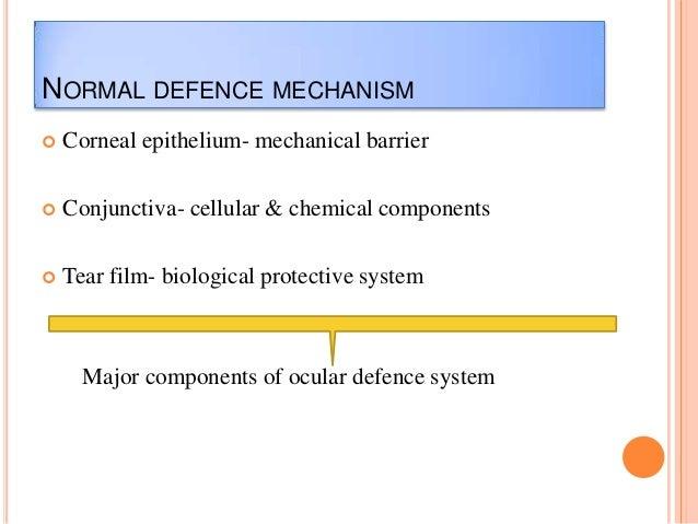 NORMAL DEFENCE MECHANISM   Corneal epithelium- mechanical barrier    Conjunctiva- cellular & chemical components    Tea...
