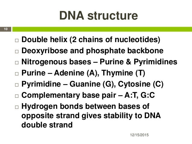 DNA structure  Double helix (2 chains of nucleotides)  Deoxyribose and phosphate backbone  Nitrogenous bases – Purine &...