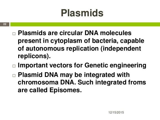 Plasmids  Plasmids are circular DNA molecules present in cytoplasm of bacteria, capable of autonomous replication (indepe...