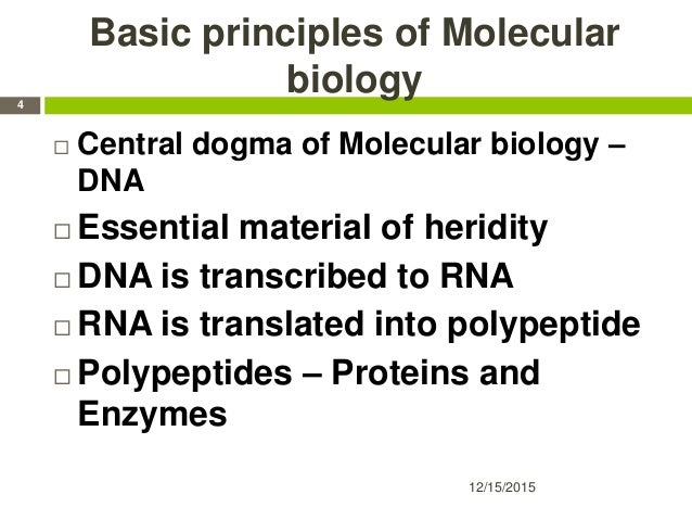 Basic principles of Molecular biology  Central dogma of Molecular biology – DNA  Essential material of heridity  DNA is...