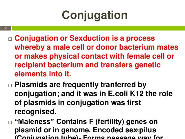 Conjugation  Conjugation or Sexduction is a process whereby a male cell or donor bacterium mates or makes physical contac...