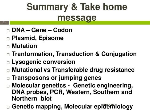 Summary & Take home message  DNA – Gene – Codon  Plasmid, Episome  Mutation  Tranformation, Transduction & Conjugation...