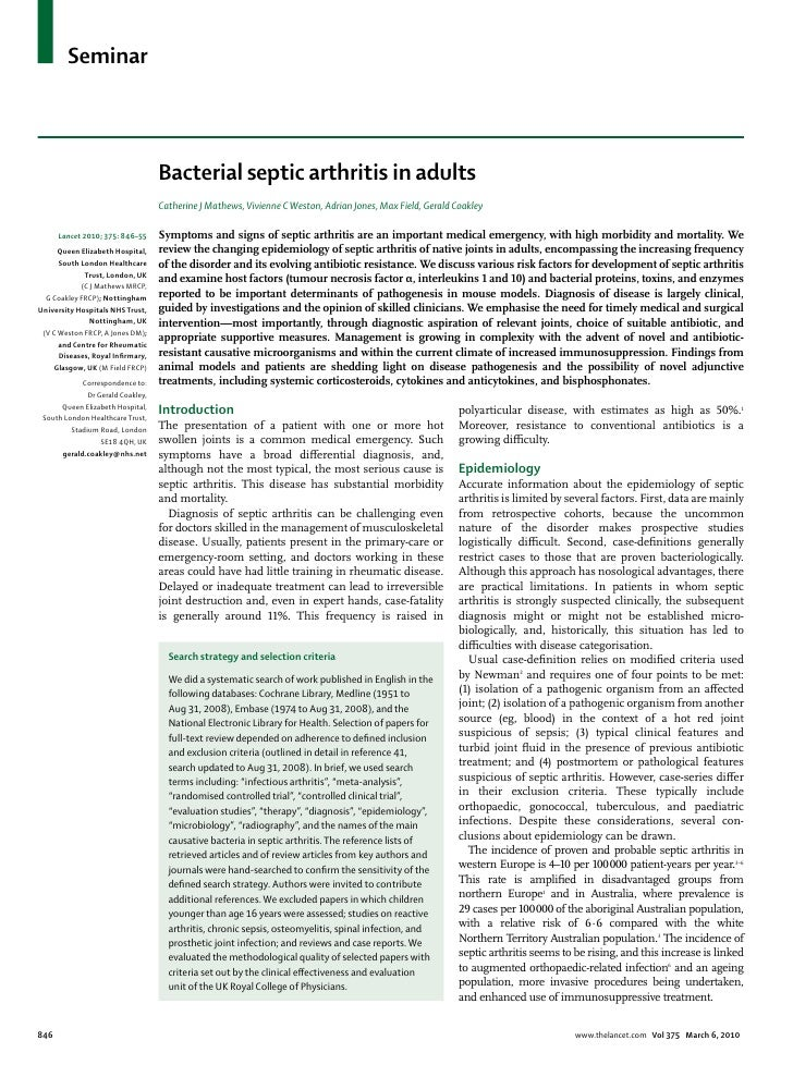 Seminar                                   Bacterial septic arthritis in adults                                   Catherine...