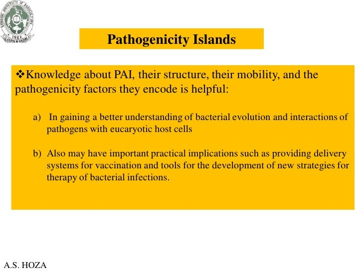 Pathogenicity Islands  Knowledge about PAI, their structure, their mobility, and the  pathogenicity factors they encode i...