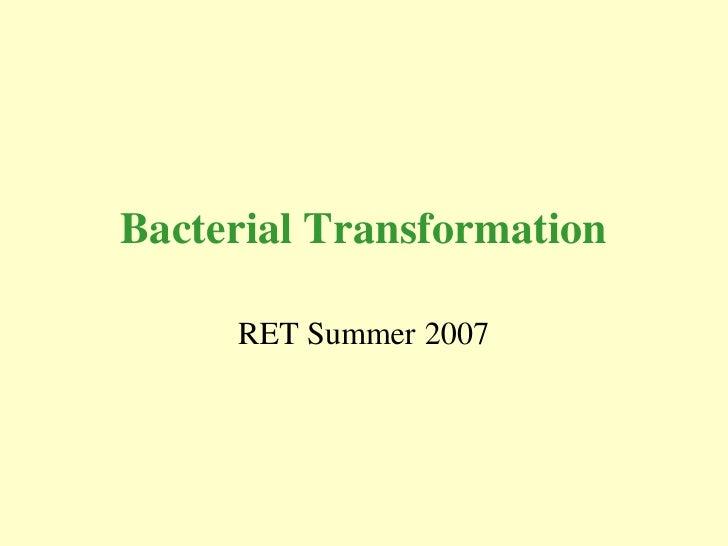 Bacterial Transformation       RET Summer 2007