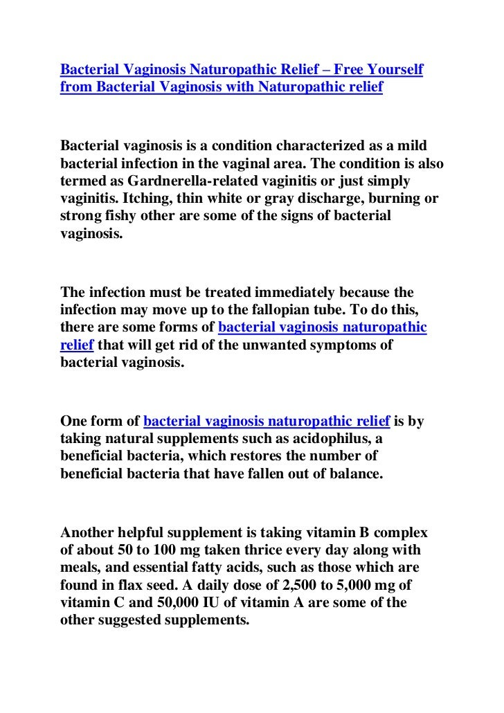 Bacterial vaginosis naturopathic relief