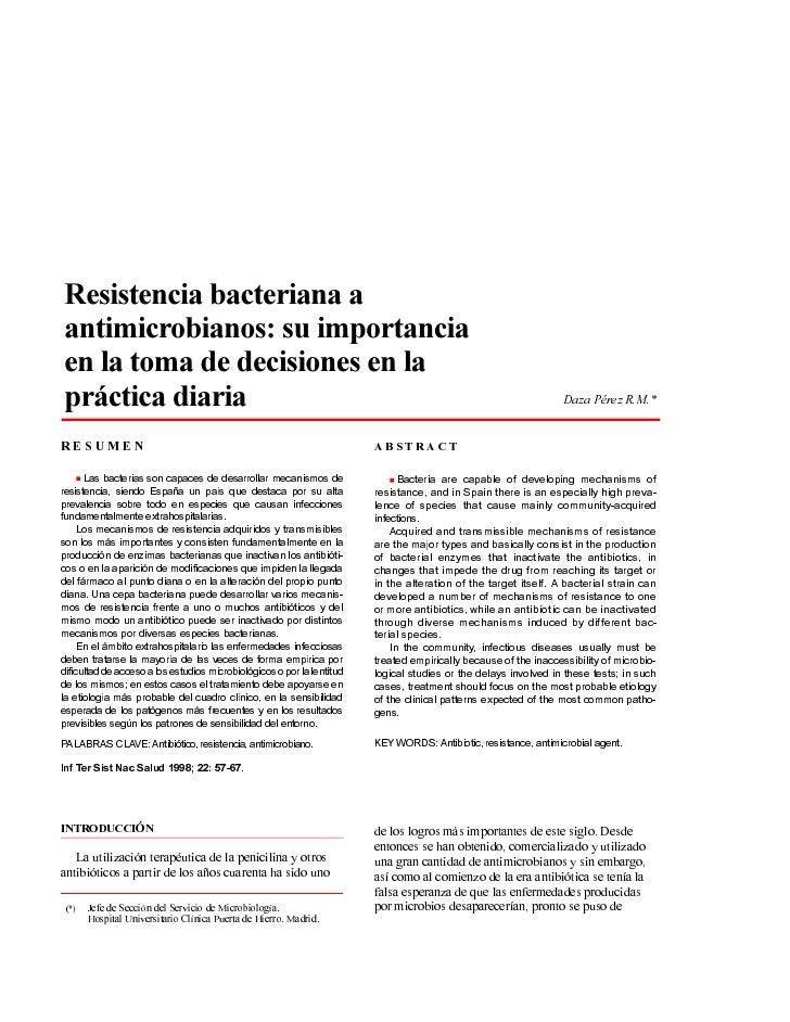 Resistencia bacteriana aantimicrobianos: su importanciaen la toma de decisiones en lapráctica diaria                      ...