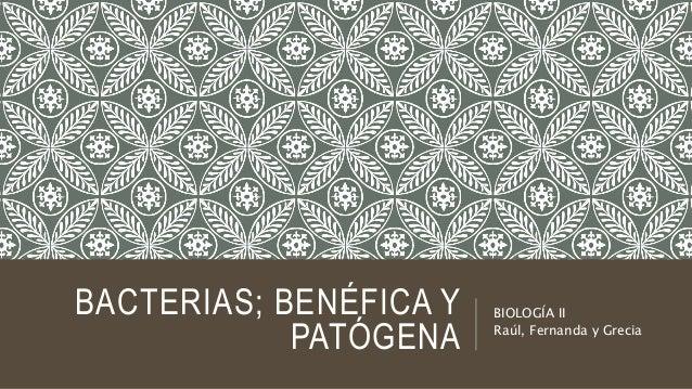 BACTERIAS; BENÉFICA Y PATÓGENA BIOLOGÍA II Raúl, Fernanda y Grecia