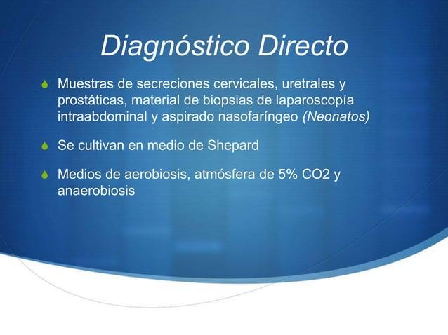 Diagnóstico DirectoS Muestras de secreciones cervicales, uretrales y  prostáticas, material de biopsias de laparoscopía  i...