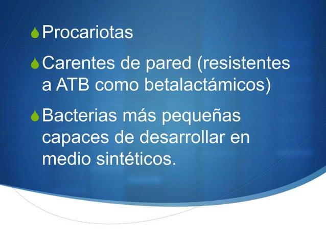 S ProcariotasS Carentes de pared (resistentes a ATB como betalactámicos)S Bacterias más pequeñas capaces de desarrollar en...