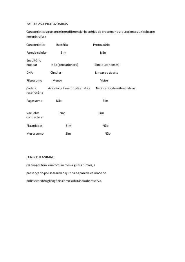 BACTERIAS X PROTOZOARIOS  Características que permitem diferenciar bactérias de protozoários (eucariontes unicelulares  he...