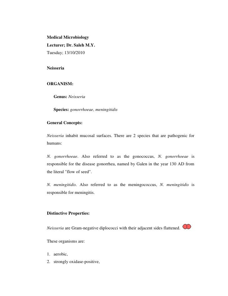 Medical Microbiology<br />Lecturer; Dr. Saleh M.Y.<br />Tuesday; 13/10/2010<br />Neisseria<br />ORGANISM: <br />Genus: Nei...