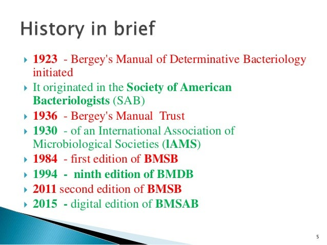 Taxonomy of Bacteria, Bergey's Manual of Systematic