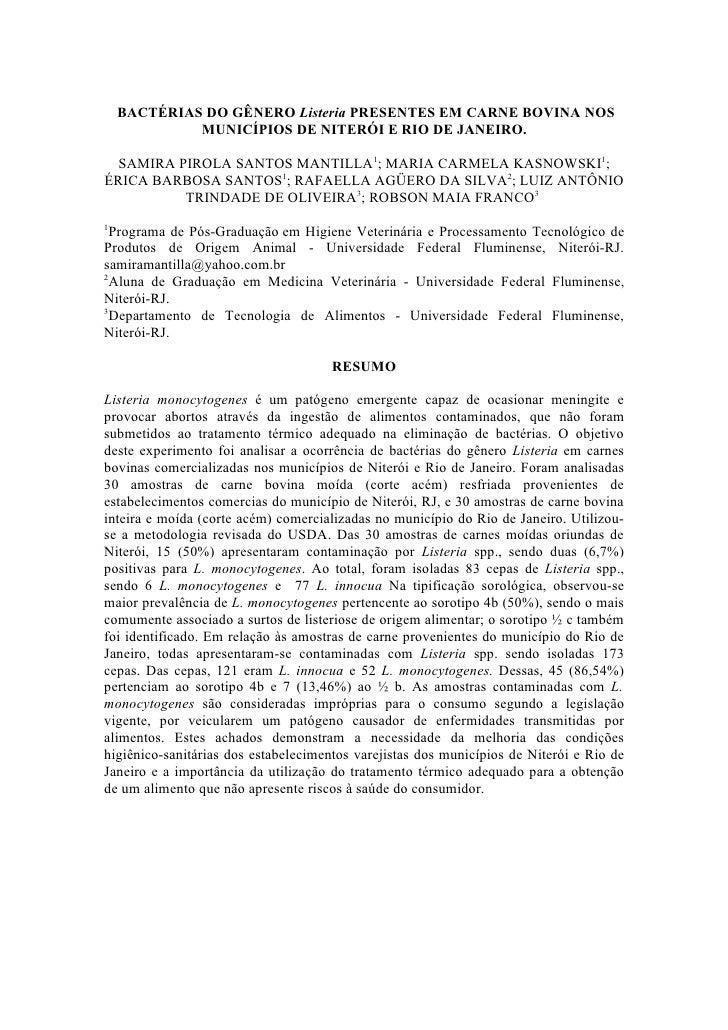 BACTÉRIAS DO GÊNERO Listeria PRESENTES EM CARNE BOVINA NOS              MUNICÍPIOS DE NITERÓI E RIO DE JANEIRO.    SAMIRA ...