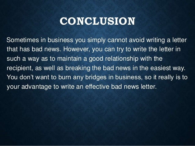 how to deliver bad news in writing